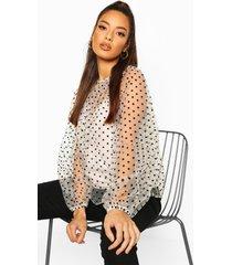 polka dot mesh oversized blouse, ivory