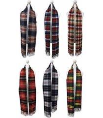 viyella - mens womens long classic warm wool cashmere blend tartan winter scarf