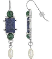 2028 silver-tone semi precious lapis rectangle imitation pearl drop earrings