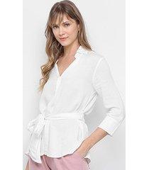 camisa santíssima decote abotoado amarração feminina