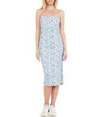 women's bardot floral rouched dress, size x-small - blue