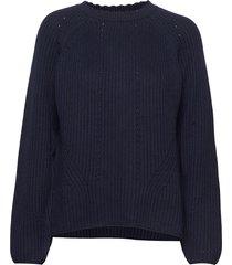 d1. detail knitted cotton crew gebreide trui blauw gant