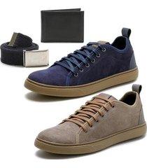 kit 2 pares de sapatênis + carteira + cinto épico masculino - masculino