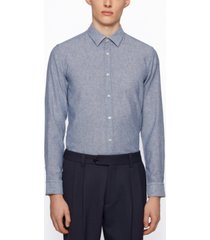 boss men's garment-washed slim-fit shirt