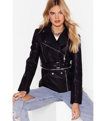 till we get zip right faux leather jacket