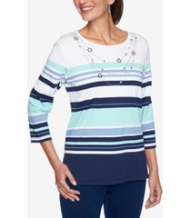 women's missy denim friendly stripe with beaded necklace top