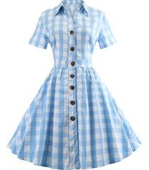 checked waist tie button down shirt dress