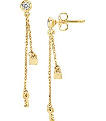 goldplated & cubic zirconia lock & key dangle earrings