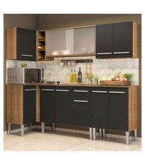 cozinha completa de canto madesa emilly point com balcão e armário vidro miniboreal rustic/preto rustic/preto