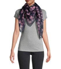 alexander mcqueen women's skull silk scarf - navy