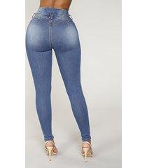 blue button design jeans de lápiz de cintura alta