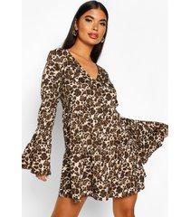 petite sheered sleeve smock dress, brown