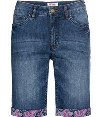bermuda di jeans elasticizzato authentic con risvolto colorato (blu) - john baner jeanswear