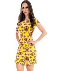 vestido 4 folhas babado estampado amarelo