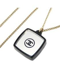 chanel cc pendant necklace white, black sz:
