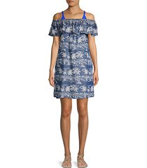 tropical-print off-the-shoulder coverup dress