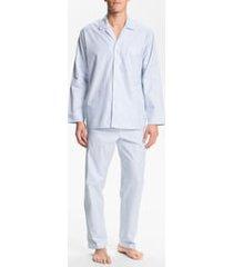 men's majestic international herringbone cotton pajamas, size large - blue