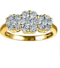 0.30 ct round diamond 18k yellow gold fn 925 silver womens  anniversary ring