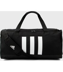 maletín negro-blanco adidas performance essentials 3 rayas 39lt