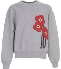 ami alexandre mattiussi sweatshirt w/applied felt poppies heavy cotton