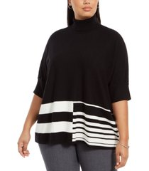 alfani plus size colorblocked turtleneck poncho, created for macy's