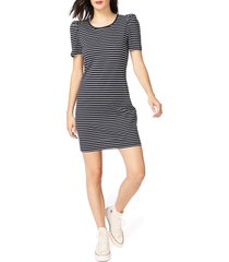 women's court & rowe classic stripe puff short sleeve cotton dress