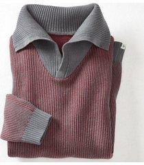 gebreide pullover uit hennep/bio-katoen met xxl-troyer-kraag, framboos l