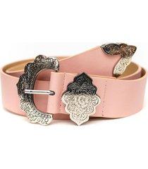 cinturon hebilla flor rosa guinda