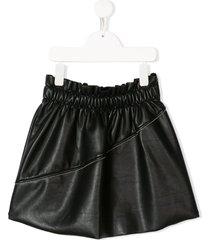 andorine faux-leather flared skirt - black