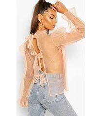 organza puff sleeve pussy bow blouse, peach