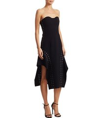 strapless lace-up dress
