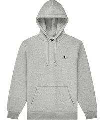 converse embroidered pullover hoodie grey