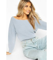 slash neck crop fisherman sweater, pastel blue