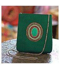 beaded shoulder bag, 'emerald magic' (india)