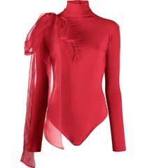 atu body couture bow-embellished jersey bodysuit - red