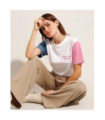 """t-shirt de algodão com bordado change"""" manga curta colorida decote redondo mindset branca"""""""