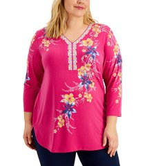 jm collection plus size printed knit top, created for macy's