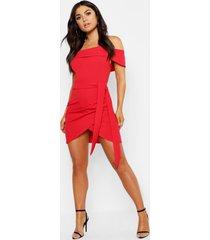 bodycon-jurk met blote schouder en wikkelstijl, rood