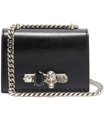 'the small jewelled satchel' in lizard embossed leather swarovski crystal knuckle