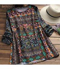 zanzea mujer casual vintage túnica top camisa tee plus size floral blusa plus size -azul
