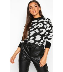 animal leopard sweater, black