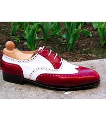 handmade men spectator shoes, men red white shoes men wingtip brogue dress shoes