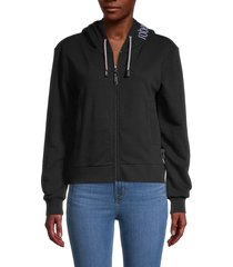 roberto cavalli sport women's metallic slogan zippered hoodie - black - size l