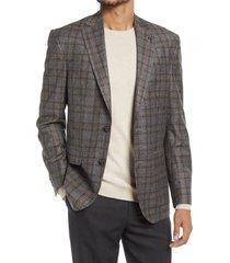 ted baker london karl slim fit windowpane wool sport coat, size 40 short in grey at nordstrom