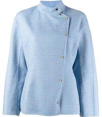 agnona buttoned-up cashmere jacket - blue
