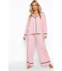 plus jersey pyjama set met lange mouwen en knopen, blush