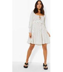jurk met stippen, strik en ballonmouwen, white