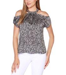 belldini black label printed cold-shoulder halter top with chain neck trim detail