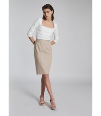 reiss emily - tailored pencil skirt in oatmeal, womens, size 12