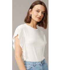 amaro feminino camiseta viscose manga com babado, off-white